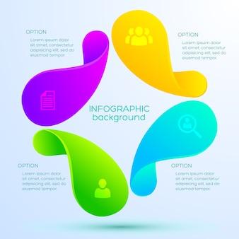 Infographic ontwerpconcept met pictogrammen en abstracte vier lichte kleurrijke voorwerpen