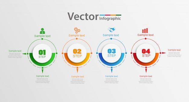 Infographic ontwerpconcept met vier opties, stappen of processen