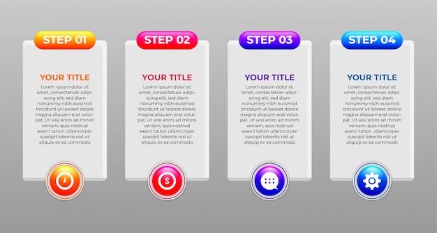Infographic ontwerpconcept van stappen en gloeiende kleuren