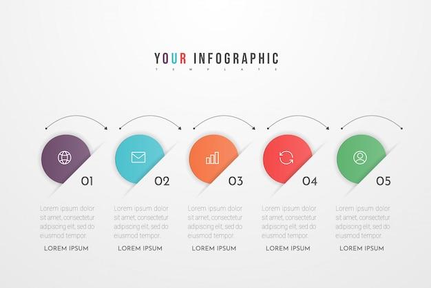 Infographic ontwerpelementen voor uw bedrijfsgegevens met vijf cirkelopties, onderdelen, stappen, tijdlijnen of processen. .