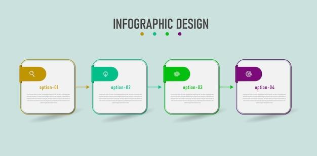 Infographic ontwerpsjabloon bedrijf met vier stappen