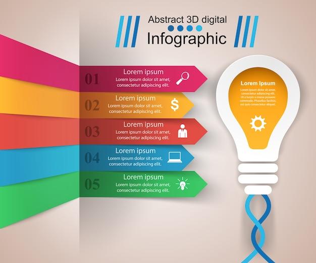 Infographic ontwerpsjabloon en marketing pictogrammen.
