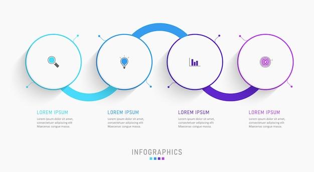 Infographic ontwerpsjabloon met 4 opties of stappen.