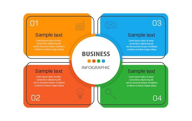 Infographic ontwerpsjabloon met 4 opties voor bedrijven