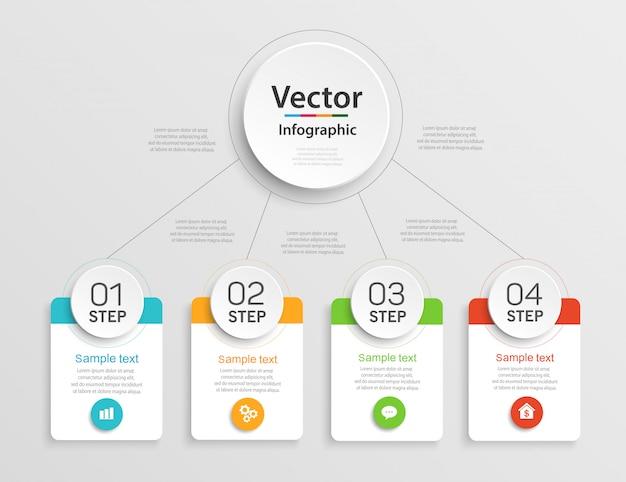 Infographic ontwerpsjabloon met 4 stappen