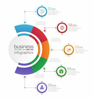 Infographic ontwerpsjabloon met 5 opties of stappen