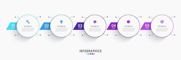 Infographic ontwerpsjabloon met 5 opties of stappen.