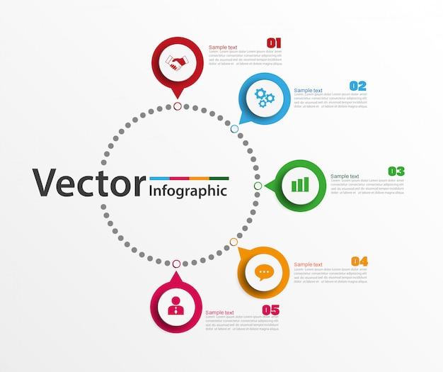 Infographic ontwerpsjabloon met 5 opties