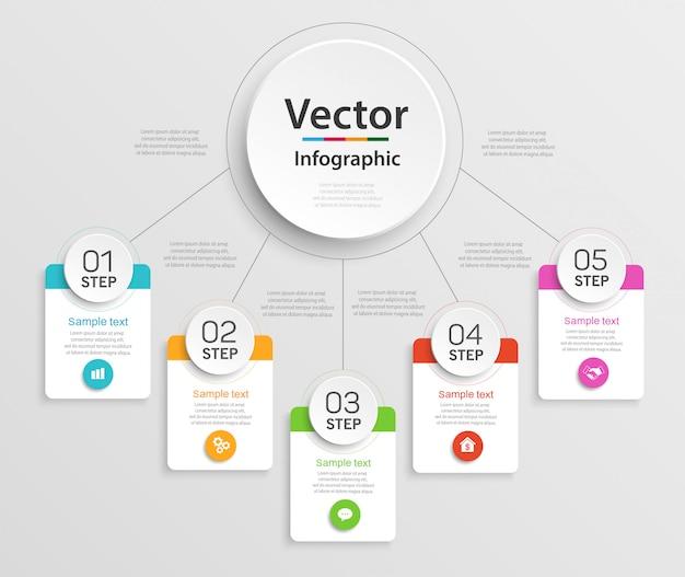 Infographic ontwerpsjabloon met 5 stappen