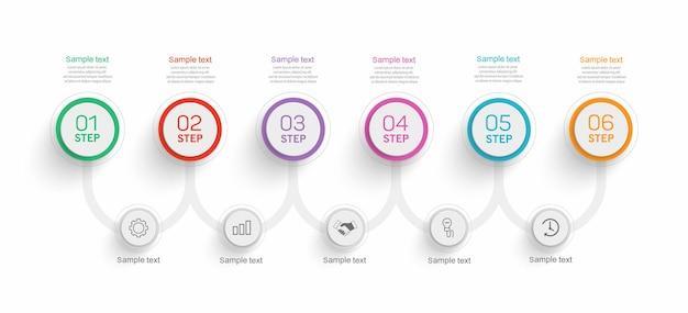 Infographic ontwerpsjabloon met 6 stappen