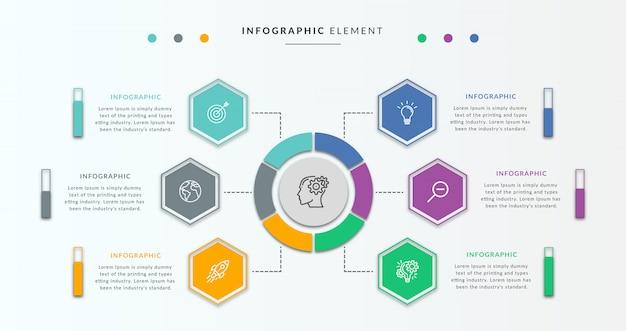 Infographic ontwerpsjabloon met cirkel en zes grafieken