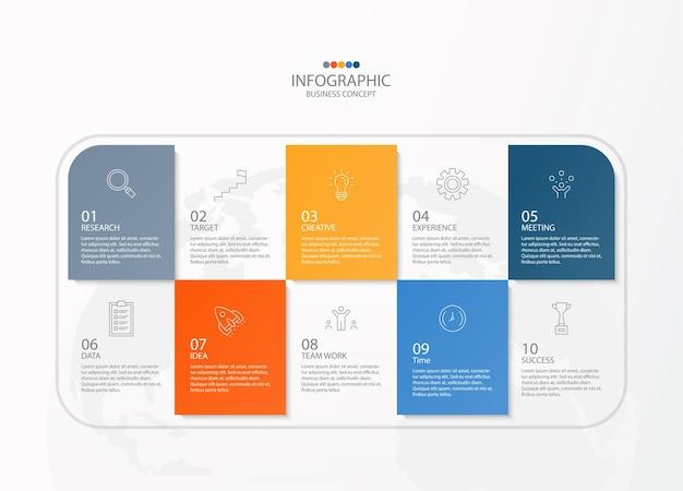Infographic ontwerpsjabloon met dunne lijn pictogrammen en 10 opties