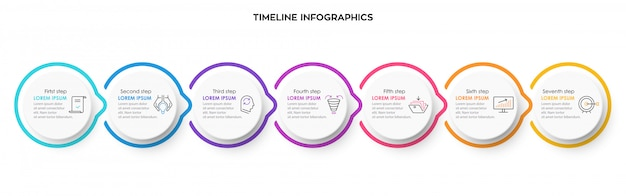 Infographic ontwerpsjabloon met icnos en 7 opties of stappen.
