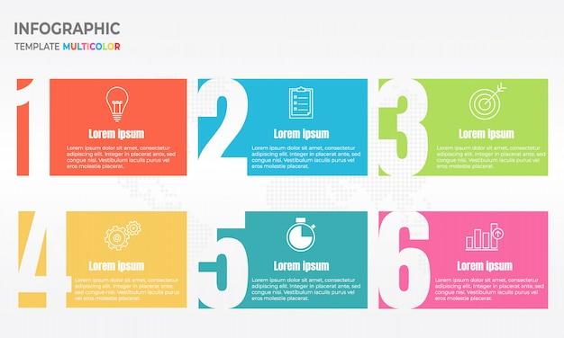Infographic ontwerpsjabloon met nummer zes optie