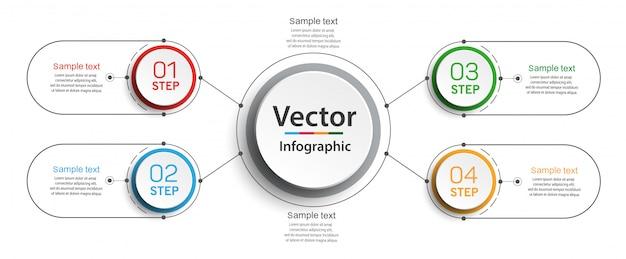 Infographic ontwerpsjabloon met opties en 4 stappen
