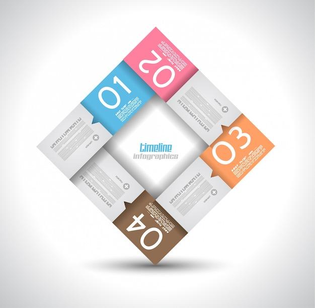 Infographic ontwerpsjabloon met papieren tags.