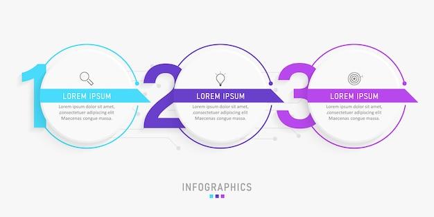 Infographic ontwerpsjabloon met pictogrammen en 3 opties of stappen. Premium Vector