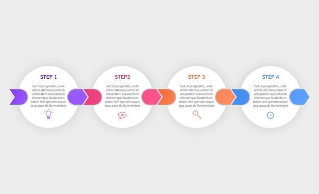 Infographic ontwerpsjabloon met pictogrammen en 4 opties of stappen kunnen worden gebruikt voor procesdiagram