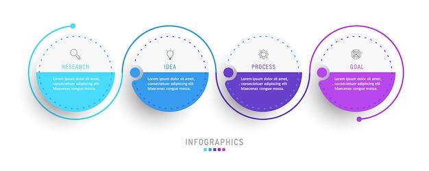 Infographic ontwerpsjabloon met pictogrammen en 4 opties of stappen.