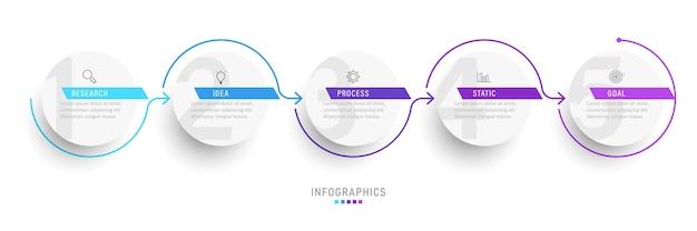 Infographic ontwerpsjabloon met pictogrammen en 5 opties of stappen.