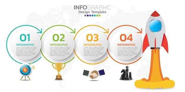 Infographic ontwerpsjabloon met pictogrammen en cijfers.
