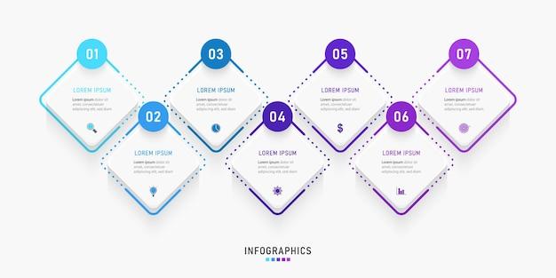 Infographic ontwerpsjabloon met pictogrammen en opties of stappen