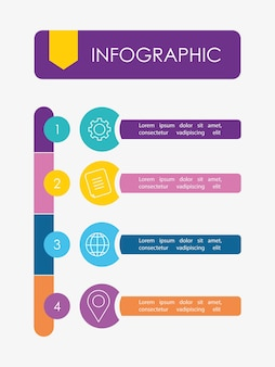 Infographic ontwikkelingsplan of strategie met nummers media-items