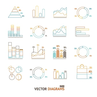 Infographic overzicht set element grafiek en grafieken, diagrammen. pixel perfecte kunst. materiaal ontwerp. vector illustratie