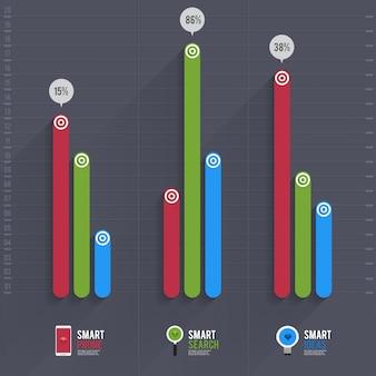 Infographic pijl diagram graph-grafiek op de groene pastel blackground met en lange schaduw. kan een gebruikselement zijn voor lay-out, website-afdrukken, jaarverslag