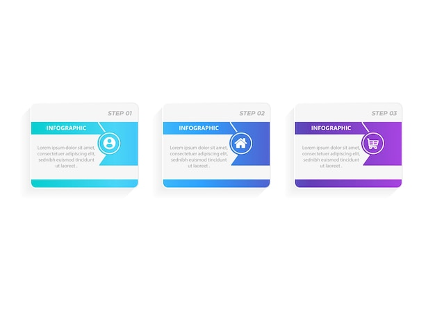 Infographic pijlontwerp met 3 opties of stappen infographics voor bedrijfsconcept