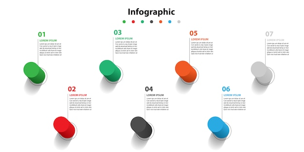 Infographic presentatie in 5 stappen, infographic lineaire zeepbel