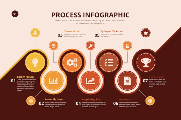 Infographic proces met grafiek Gratis Vector