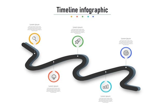 Infographic processtappendiagram met lijn en pictogrammen