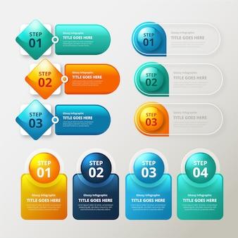Infographic realistische glanzende elementen
