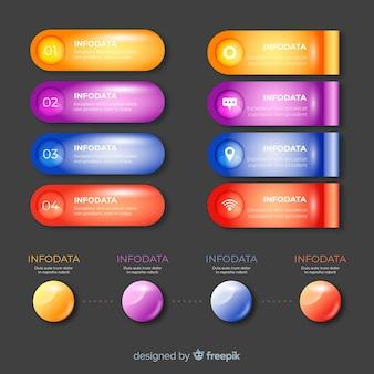 Infographic realistische glanzende elementenverzameling