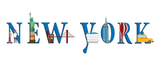Infographic reizen. infographic new york, het van letters voorzien van new york en beroemde oriëntatiepunten.