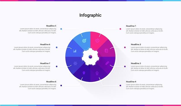 Infographic sjabloon 8 stappen opties diensten