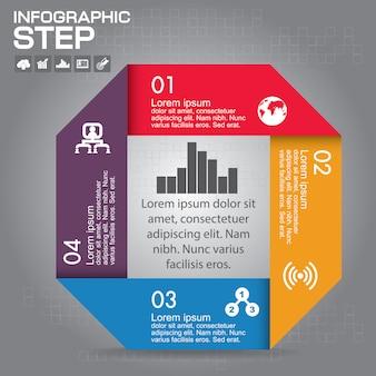 Infographic sjabloon. bedrijfsconcept met 4 opties, onderdelen, stappen of processen.