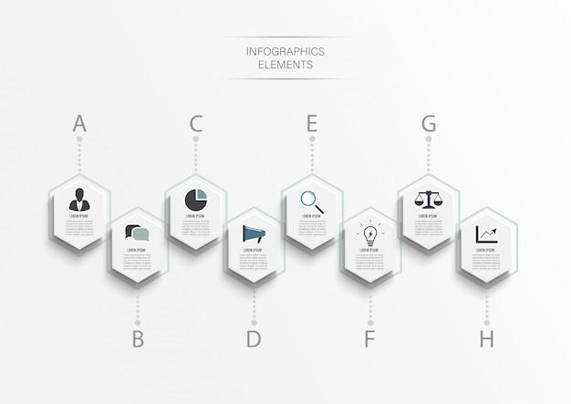 Infographic sjabloon. bedrijfsconcept met acht opties.