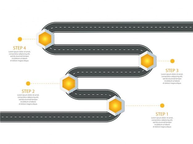 Infographic sjabloon. bochtige asfaltweg met originele pinpointers.