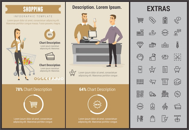 Infographic sjabloon, elementen en pictogrammen winkelen