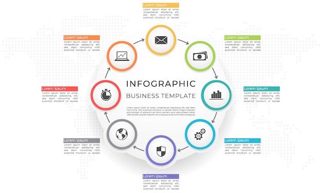 Infographic sjabloon en diagram 8 opties.