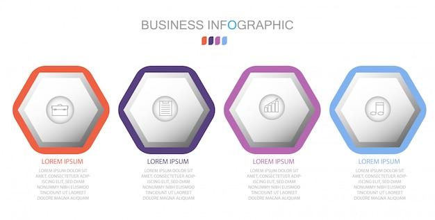 Infographic-sjabloon in vier stappen