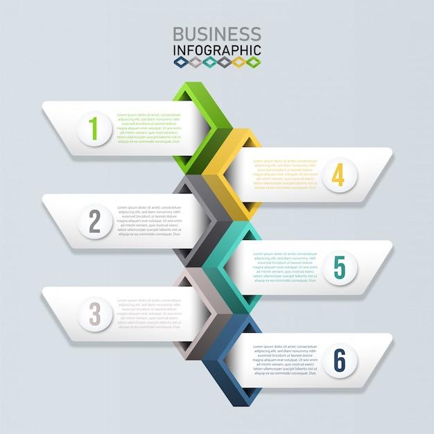 Infographic sjabloon met 3d-papier. bedrijfsconcept voor presentatie.