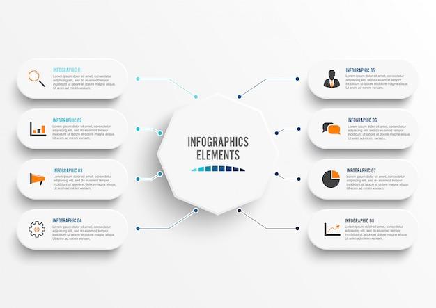 Infographic sjabloon met 3d-papier