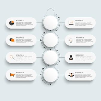 Infographic-sjabloon met 3d-papier