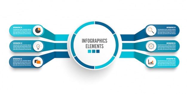 Infographic sjabloon met 3d-papieren etiket