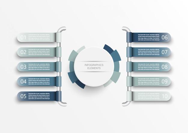 Infographic sjabloon met 3d-papieren label, geïntegreerde cirkels. bedrijfsconcept met 10 opties.