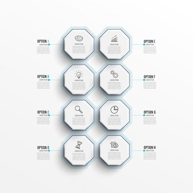 Infographic sjabloon met 3d-papieren label, geïntegreerde cirkels.