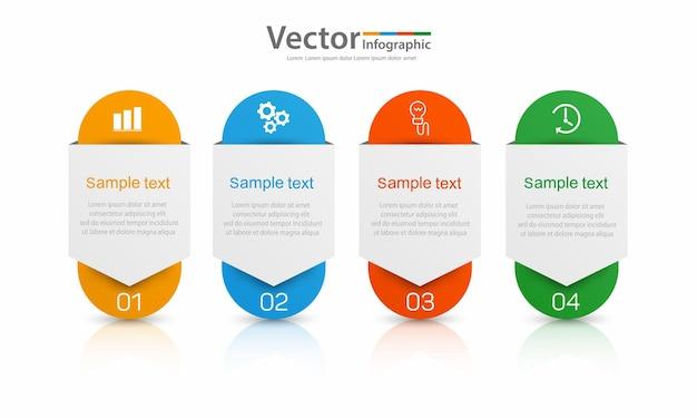 Infographic sjabloon met 4 opties of stappen Premium Vector